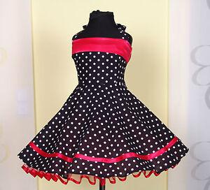 Mädchen 50-erJahre zum Petticoat, Tanz,Einschulung Kleid Gr.104-154 Schwarz/rot.