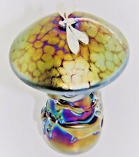 Neo Art Glass handmade golden iridescent mushroom silver dragonfly by K.Heaton
