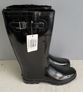 Gold Toe Black Rain Boots Women's Shoes Size 9 New With Tags