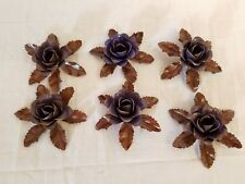 6 LOT metal tin PURPLE ROSE Flower Mexican ART Rustic Vintage ANTIQUE Handmade
