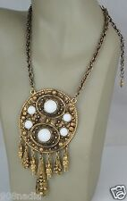 VINTAGE NECKLACE/PENDANT STATEMENT GOLD TONE MEXICAN AZTEC WHITE GLASS OR STONE