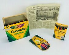 Vintage Crayola Crayons Lot Binney & Smith Boxes Sharpener 90s Newspaper Article