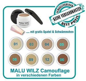 Malu Wilz Camouflage Make up 6g verschiedene Farben& Spatel & Schwamm& 2 PROBEN