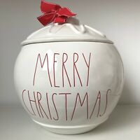 """New Rae Dunn """"Merry Christmas"""" Red Ornament Canister Cookie Jar - Christmas 2020"""