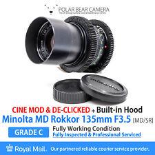 ⭐SERVICED⭐ MINOLTA MD 135mm F3.5 Tele-Rokkok CINE MOD DE-CLICK[GRADE C, WORKING]