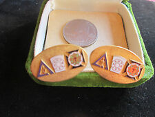 Vintage Religious Insignia Fraternal Men's Gold Tone Enamel Cufflinks Unsigned