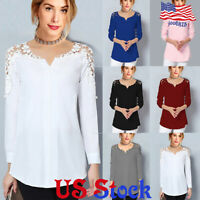 Women's V-neck Lace Long-sleeve Off-shoulder Top Lady Casual Blouse T-Shirt US