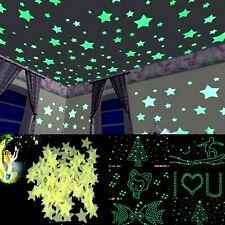 100pcs 3D Wall Glow In The Dark Star Stickers Decal In Baby Kid Nursery Bedroom