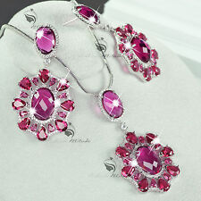 18k white gold plated simulated diamond rosy stud earrings necklace flower set