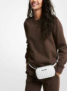 New Michael Kors Rose Belt bag Quilted Polyurethane blend Optic White