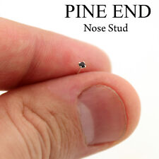 Sterling silver Nose stud Black Crystal 24 Gauge nose ring PIN END 1.5mm (N-04)