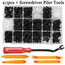 415pcs/Set Plastic Push Pin Rivets Fasteners Fender Bumper Clips + Remover Tools