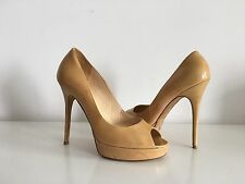 JIMMY CHOO NUDE PATENT LEATHER PLATFORM PUMPS, SIZE 41