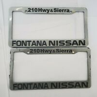 2x Fontana Nissan 210 Freeway California Silver Plastic License Plate Frames