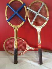 3 anciennes vintage en bois raquettes de tennis pour affichage