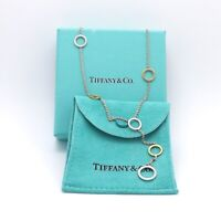 Tiffany Co Sterling Silver 18k Gold Circle Station Lariat Necklace 16 Inch