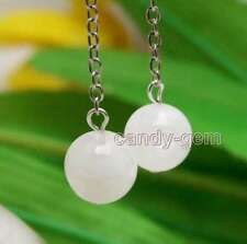 SALE 14mm White Round Natural High Quality Moonstone Dangle 2'' Hook earring-648