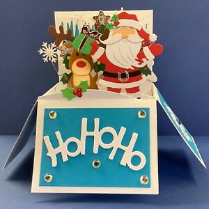 POP UP CHRISTMAS CARD ..SANTA/RUDOLPH/CHRISTMAS TREES, SNOWFLAKES ON ACETATE ETC