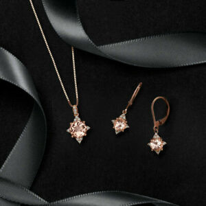 3 ct Pink Morganite Womens Pendant Earrings Set 14k Rose Gold Fn Valentine Gift