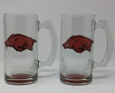 Arkansas Razorbacks Glass Beer Stein Mug -  Red Razorback bottom Set of 2