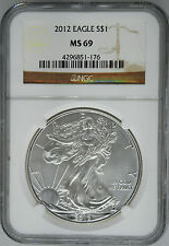 2012 NGC MS 69 $1 Silver American Eagle (Uncirculated 1 oz)