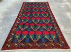 Authentic Hand Knotted Afghan Balouch Wool Area Rug 6.9 x 3.5 Ft (659 HMN)