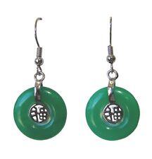 Round Green Jade Dangle Drop Earrings
