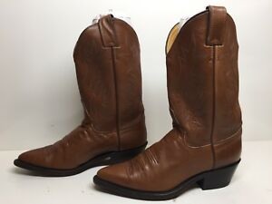 WOMENS JUSTIN COWBOY LEATHER BROWN BOOTS SIZE 7.5 B