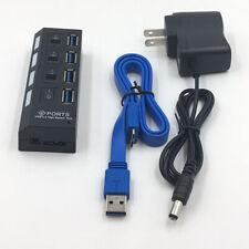 4 Ports 3.0 USB Hub Aktiv Mit Switch Netzteil und Kabel für Laptop PC Mode  liw