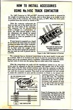 [54798] 1954 LIONEL TRAINS No. 145C TRACK CONTACTOR INSTALLATION INSTRUCTIONS