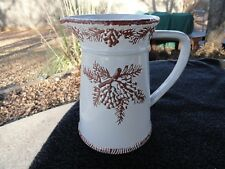 Certified Int'l. Pine Cone Embossed Terracotta Brown Pine Cones White Pitcher