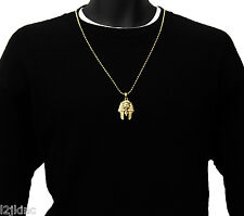 Pharaoh Piece Charm Micro Pendant Ball Chain Necklace Jewelry Gold Plated