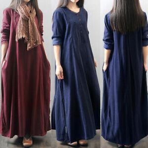 Womens Casual Loose Long Sleeve Baggy Cotton Linen Kaftan Maxi Dress Plus Size