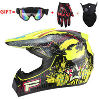 L Yellow Motorcross Dirt Bike Off Road MTB Motorcycle Helmet Racing Full Face