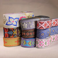 Ethnic Flower Woven Embroidery Lace Silk Trim Jacquard Ribbon DIY Sewing Crafts