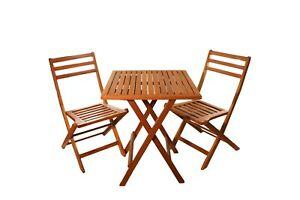Bistro Set - Table and 2 chairs - Acacia Wood