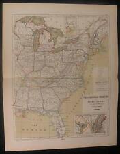 Eastern United States 1872 rare antique old vintage Kuyper hand color map