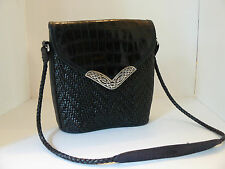 Gorgeous Brighton Black Woven & Croc Embossed Leather Shoulder Bag