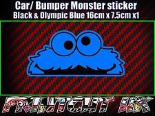 Jette un coup d'oeil monster autocollant, voiture vélo ordinateur portable porte scooter drôle mignon bleu