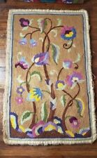 "Antique Floor Rug Rectangular Thick Wool - Floral - Tan/Brown - 48"" x 30"""