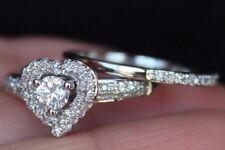 New Size 7 14K 0.55ct Real Round Diamond (H,SI) Heart Halo Wedding Bridal Set