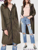 NEW Ladies JACKET RAIN MAC PARKA Womens SHOWER Festival RAINCOAT Size 8-16 LONG