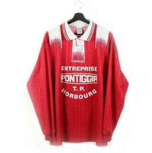 90s adidas vintage soccer jersey football Entreprise Pontiggia Horbourg red XL
