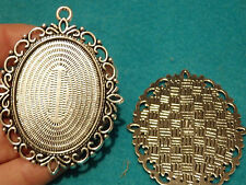 5 large oval setting blanks picture photo frame pendant Tibetan silver antique