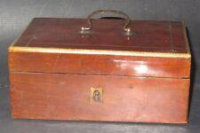COFFRET BOITE A COUTURE MIROIR MARQUETERIE DE FILETS 1900 SEWING WORK BOX