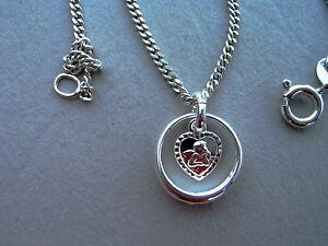 Geburt Taufe - süßer Taufring Herz mit Engel plus Kette aus 925er Silber (1)