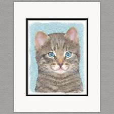 Gray Tabby Kitten Cat Original Art Print 8x10 Matted to 11x14