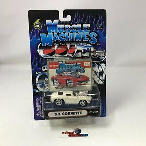 '63 Corvette * WHITE * Muscle Machines 1:64 Die Cast * HB25