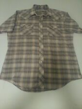 Authentic Western Mens Pearl Snap Shirt Size 16.5 1/2 Brown Plaid Short Sleeve