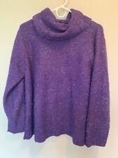 Cold Water Creek Women's Purple Loose Knit Fuzzy Sweater SZ LG